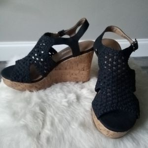 Hot Tomato Navy Blue Woven Wedges